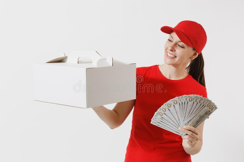 Woman in red cap, t-shirt giving food order cake box isolated on white background. Female courier holding dessert in. Unmarked cardboard box, bundle of dollars royalty free stock photos