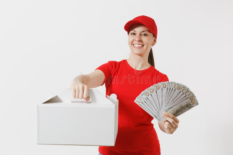 Woman in red cap, t-shirt giving food order cake box isolated on white background. Female courier holding dessert in. Unmarked cardboard box, bundle of dollars stock image