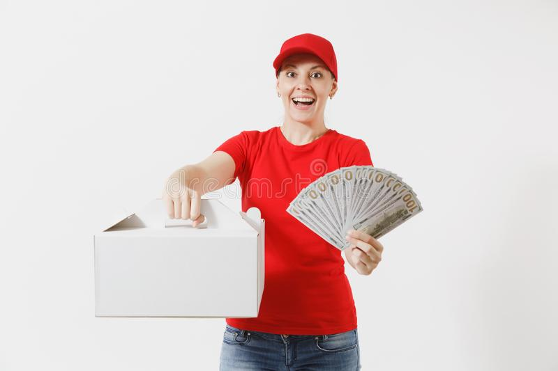 Woman in red cap, t-shirt giving food order cake box isolated on white background. Female courier holding dessert in. Unmarked cardboard box, bundle of dollars royalty free stock photo