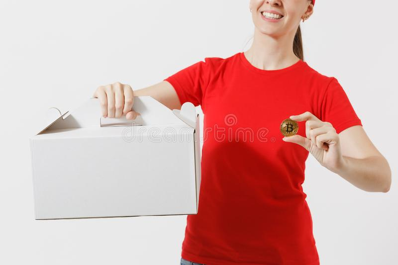 Woman in red cap, t-shirt giving food order cake box isolated on white background. Female courier holding dessert in. Unmarked cardboard box, bitcoin, coin of stock photos