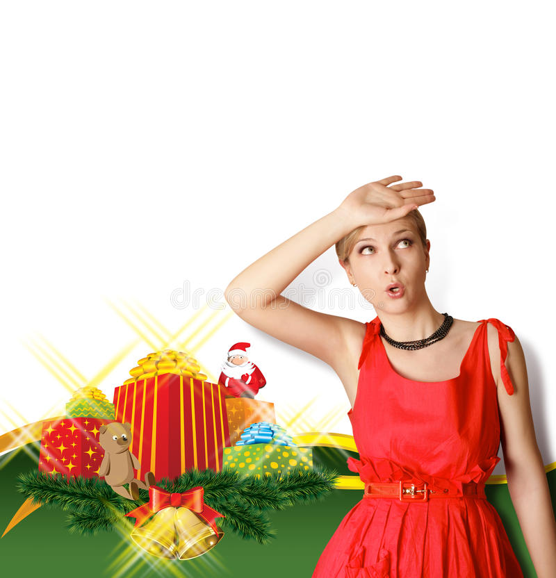 Download Woman In Red With Christmas Gifts Stock Image - Image: 22100495