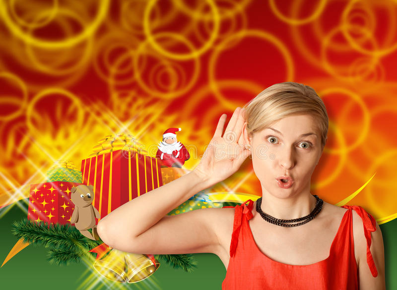 Download Woman In Red With Christmas Gifts Stock Image - Image of congratulation, claus: 22100543