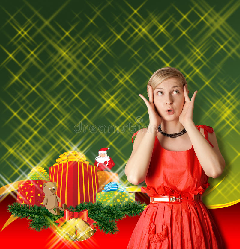 Download Woman In Red With Christmas Gifts Stock Image - Image: 22100625
