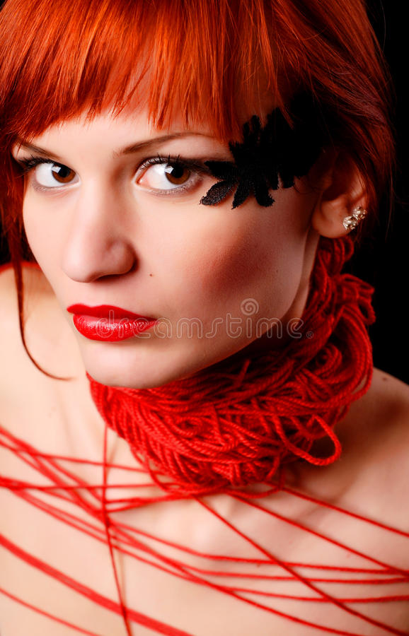 Woman With Red Clew Royalty Free Stock Image