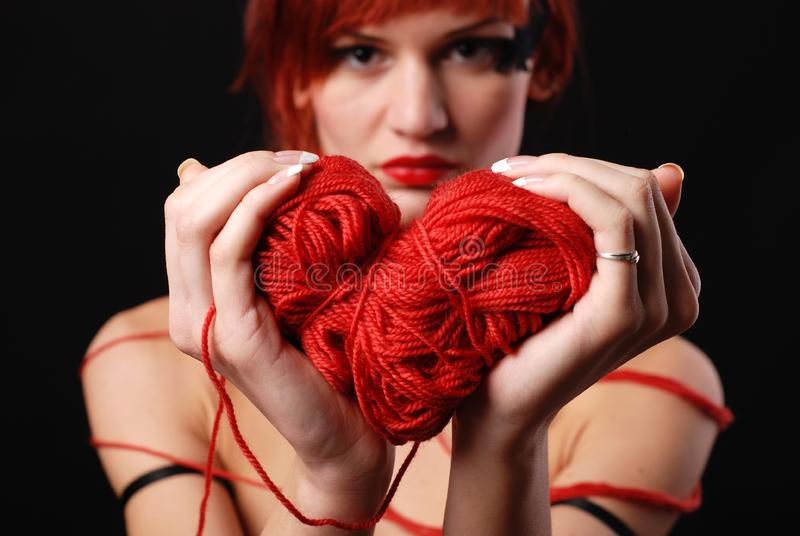 Download Woman with red clew stock image. Image of thread, artificial - 8622641