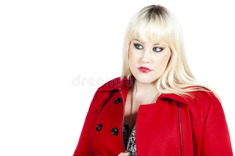 Download Woman in red coat stock illustration. Illustration of blond - 28300900