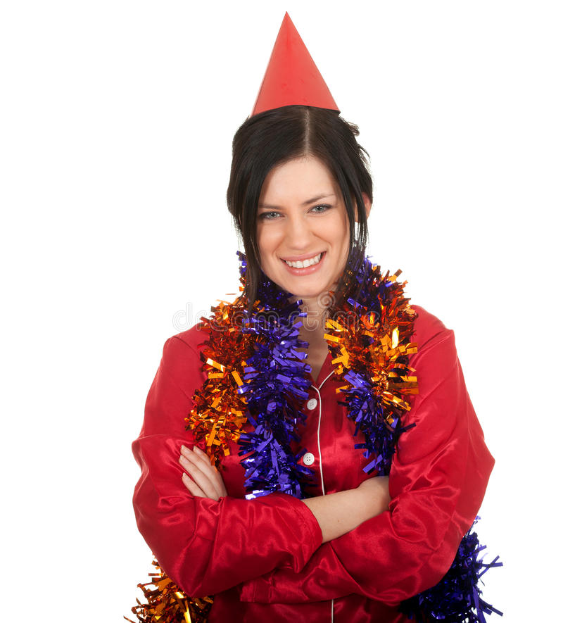 Download Woman In Red Cone Hat And Christmas Chains Stock Photo - Image of smile, chain: 17445912