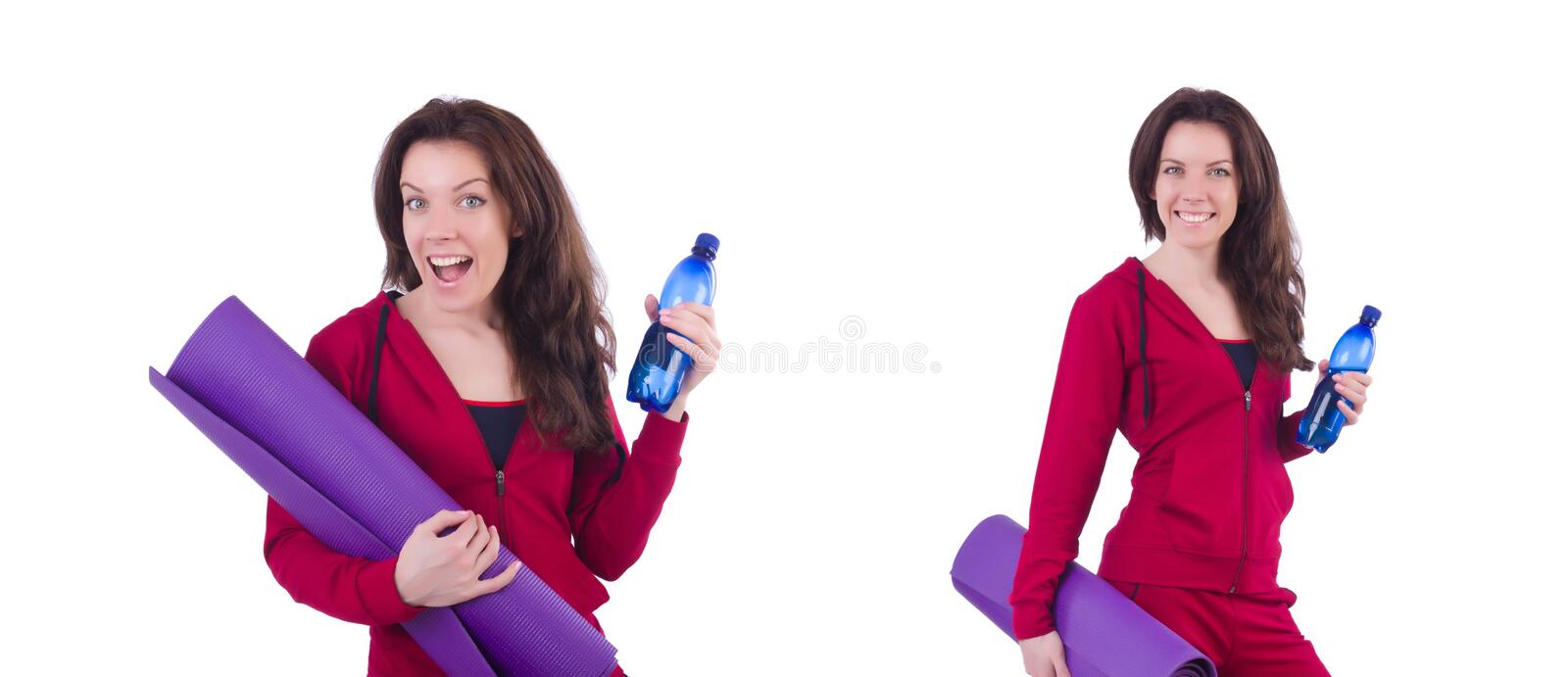 Woman in red costume in sports sporting concept stock photo