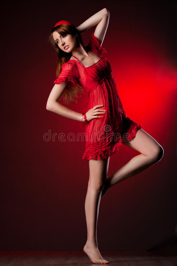 Download Woman in red dress stock image. Image of look, model - 22144087