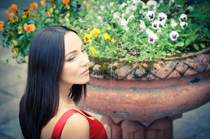 Woman in a red dress against colourful flowers stock photos