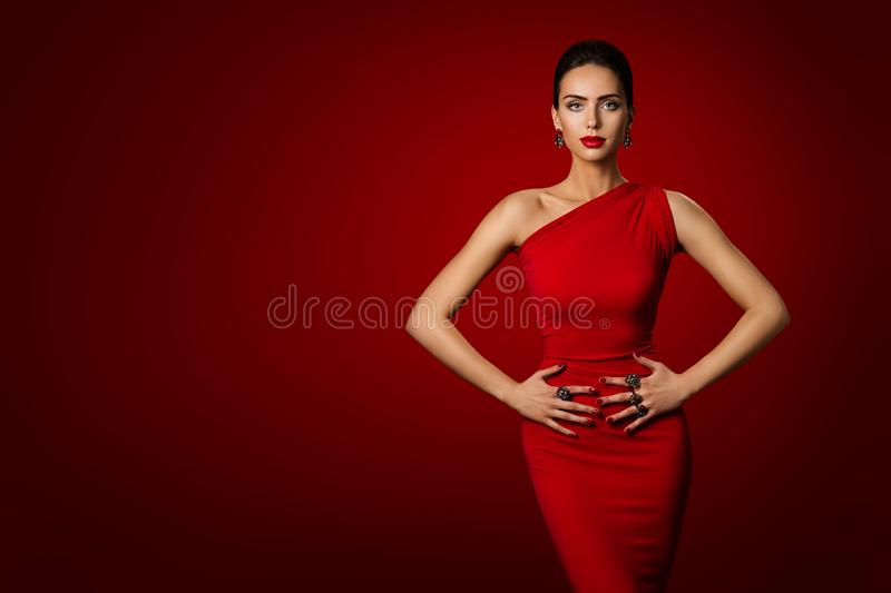 Woman Red Dress, Fashion Model Elegant Gown, Young Girl Beauty stock images