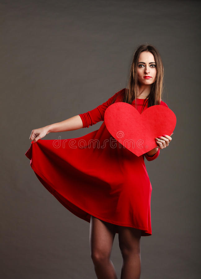Woman In Red Dress Holds Heart Sign Stock Photo Image Of Love