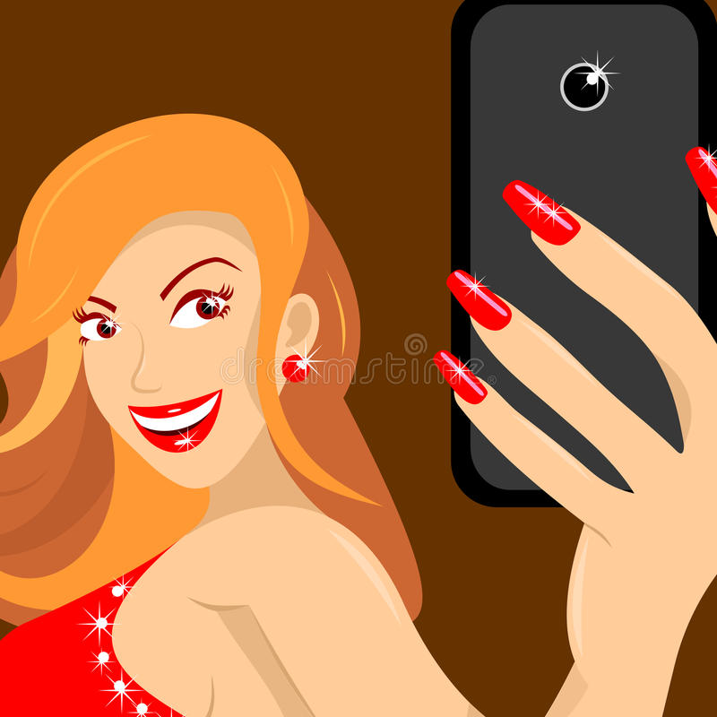 Woman in red dress makes self on brown background close up vector illustration