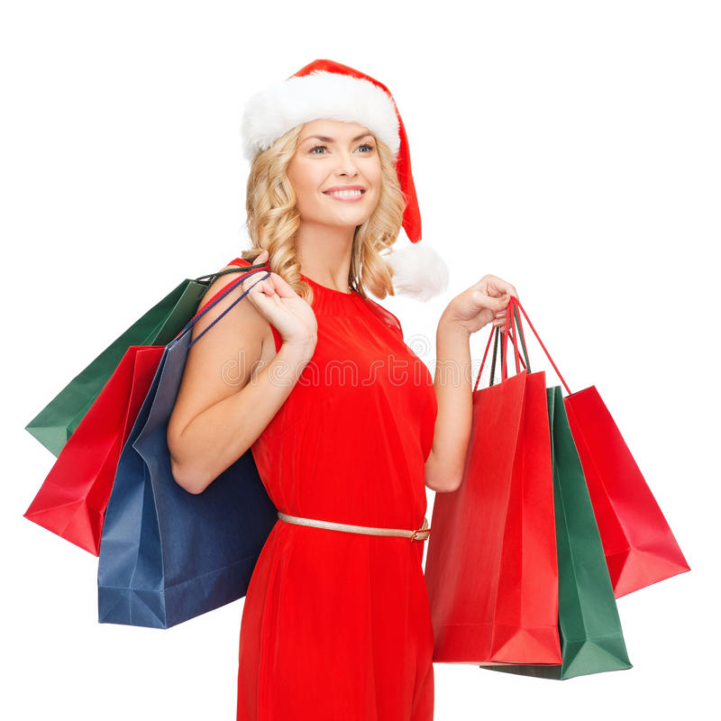 Download Woman In Red Dress With Shopping Bags Stock Image - Image: 34774333