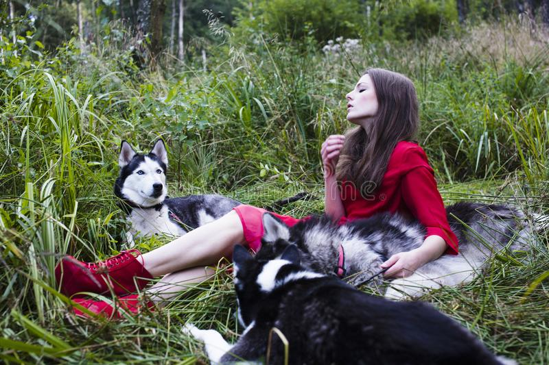 Woman in red dress with tree wolfs, forest, husky dogs mystery p. Mysterious woman in red dress with tree wolfs, forest, husky dogs mystery portrait royalty free stock photo