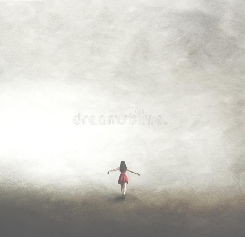 Woman in red dress walking towards infinity royalty free stock photography