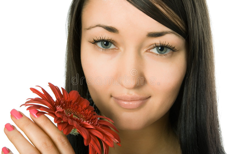 Woman with red flower royalty free stock photos