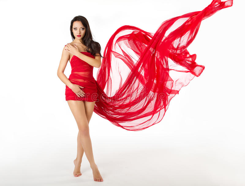 Woman Red Flying Waving Dress, White stock image