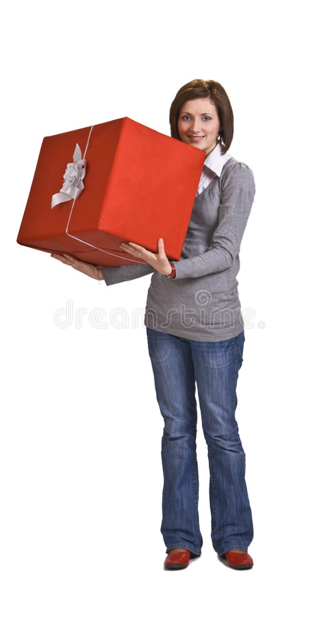 Download Woman with a red gift box stock photo. Image of give, customer - 7480668