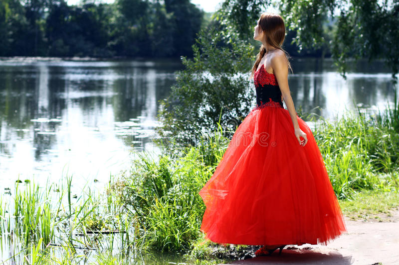 Woman in a red gothic dress. Young woman in a red gothic dress stock images