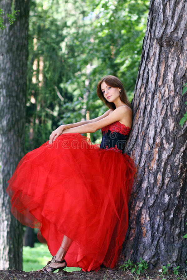 Woman in a red gothic dress. Young woman in a red gothic dress stock photo
