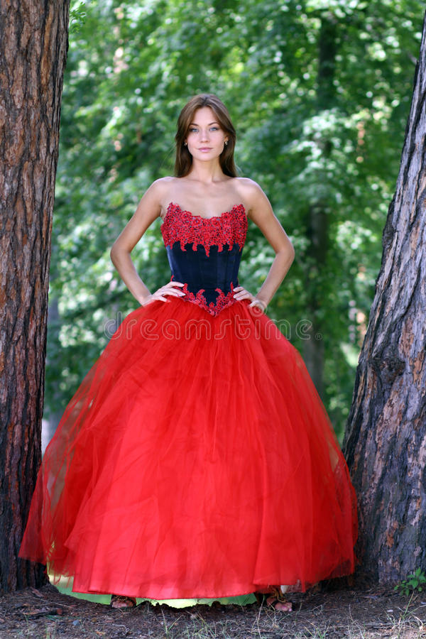 Woman in a red gothic dress. Young woman in a red gothic dress stock image
