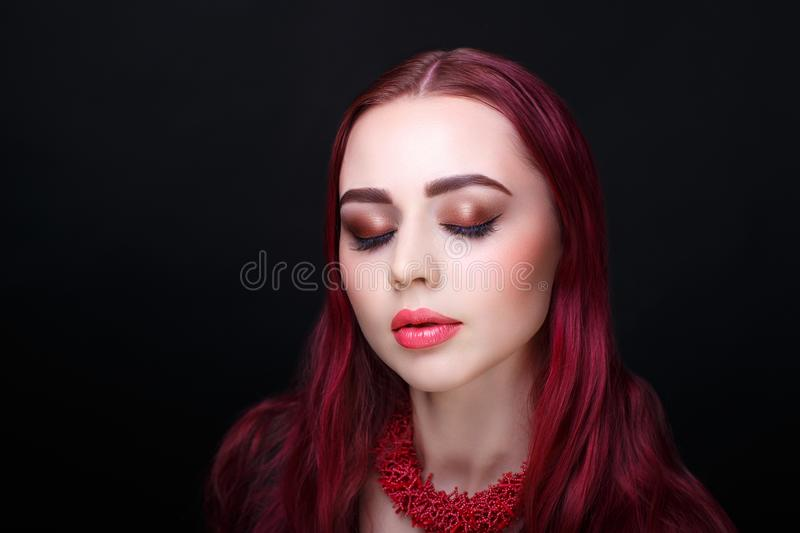 Woman red hair royalty free stock photography