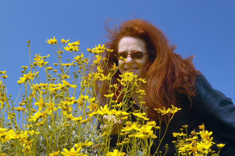 Woman with red hair, May Palmer, smelling yellow flowers growing in Coyote Canyon in spring, Anza-Borrego Desert State Park, near stock photo
