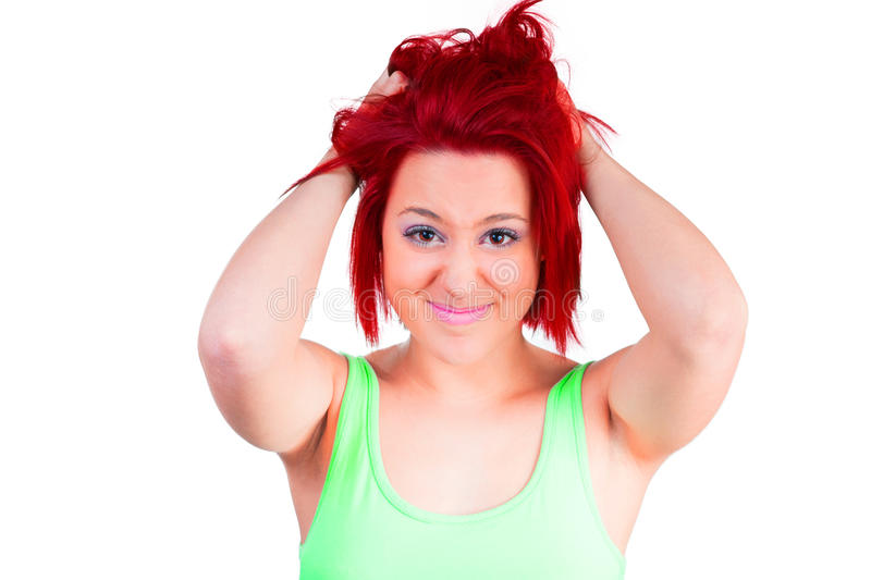 Woman with red hair is stressed