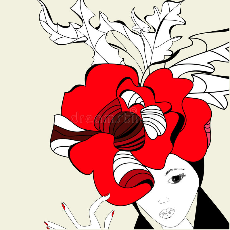 Download Woman with red hat stock vector. Illustration of women - 16344632