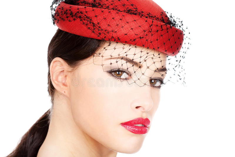 Download Woman with red hat stock photo. Image of optimistic, positive - 23511478