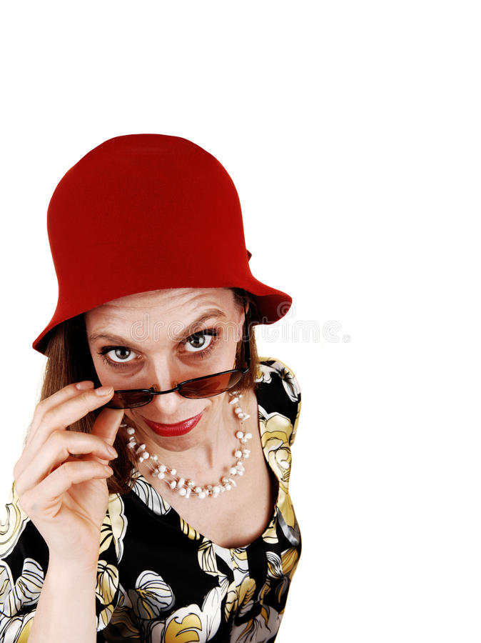 Download Woman with red hat. stock photo. Image of hair, look - 23939216
