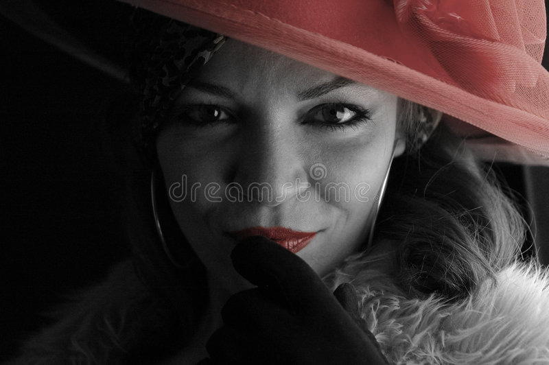 Woman with red hat royalty free stock photo