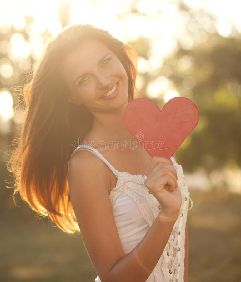 Download Woman With Red Heart Royalty Free Stock Images - Image: 26919129