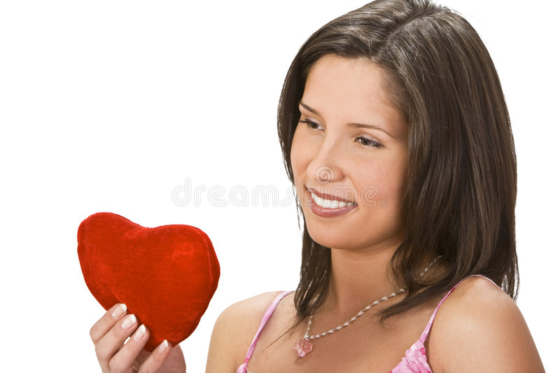 Woman With A Red Heart Stock Photos