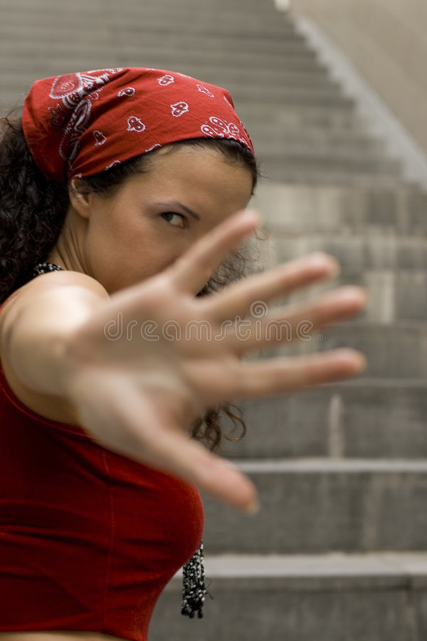 Download Woman In Red Hides Her Face Stock Photo - Image: 6211918
