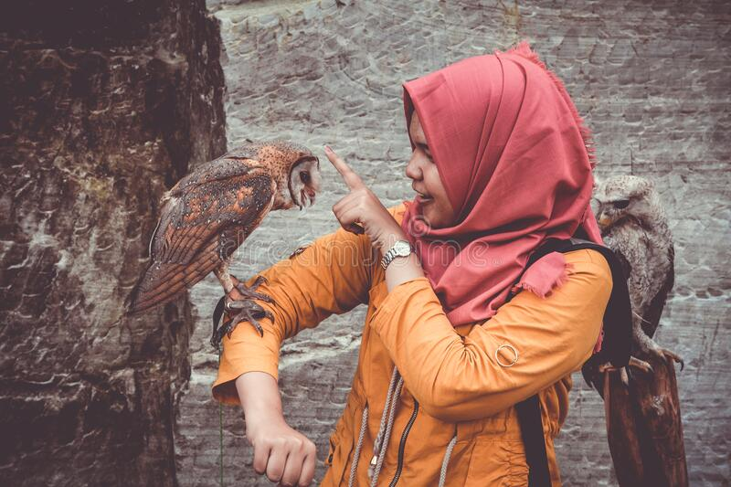 Woman In Red Hijab And Orange Coat Touching Brown And White Owl Free Public Domain Cc0 Image