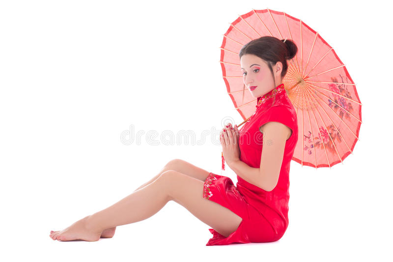 Download Woman In Red Japanese Dress With Umbrella Isolated On White Stock Image - Image: 33761659