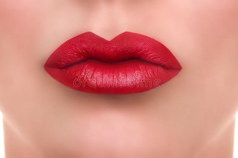 Woman Red Lips Kiss royalty free stock image