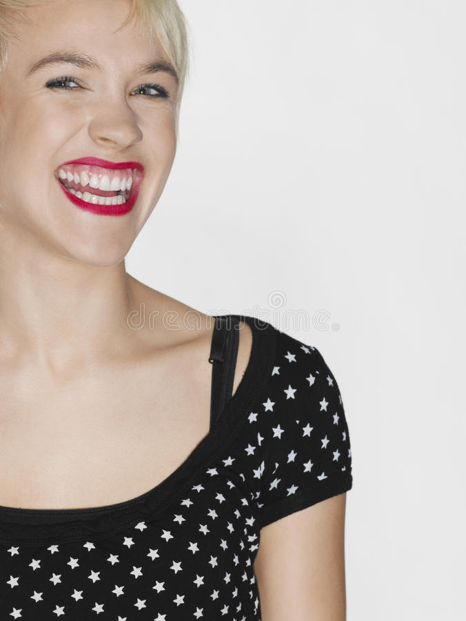 Woman With Red Lips Laughing royalty free stock photo