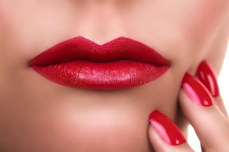 Woman Red Lipstick Manicure stock photo