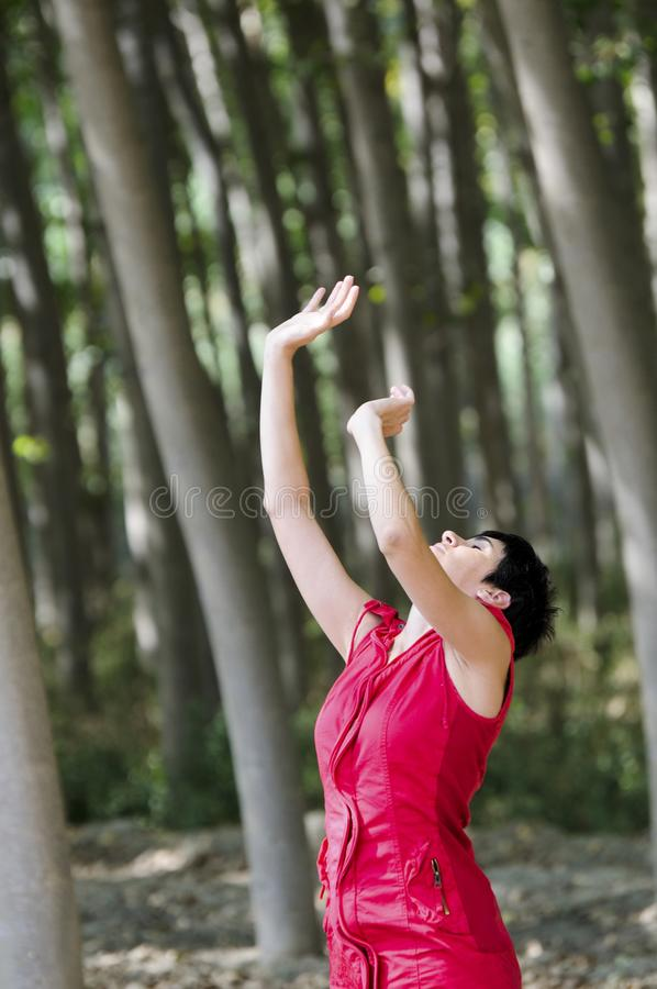 Woman in red, meditating in the forest stock photo