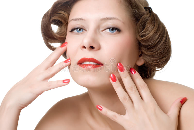 Woman with red nails and lips stock images