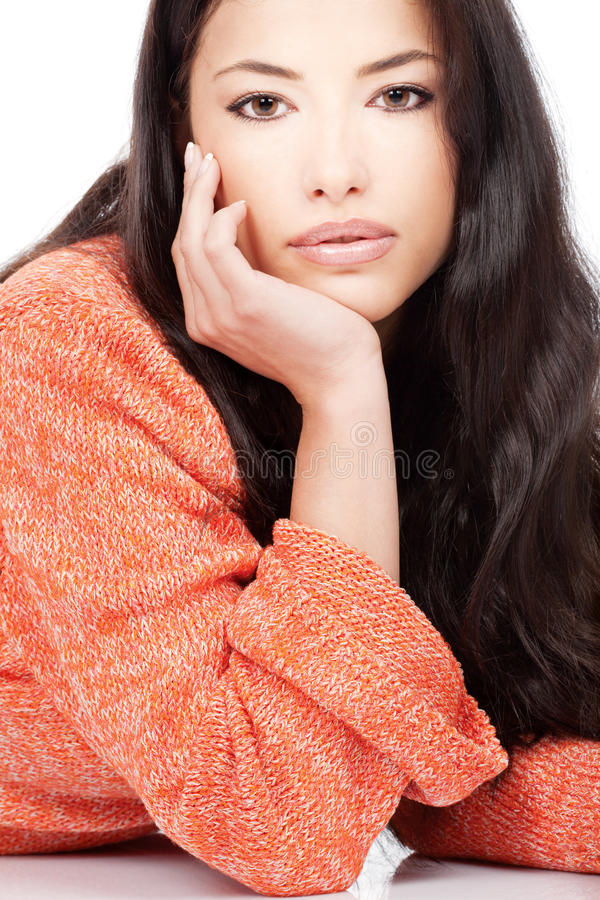Download Woman In A Red Orange Wool Sweater Stock Photo - Image: 22473488