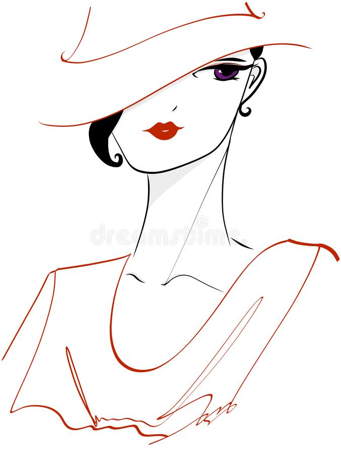 Woman in Red with Purple Eyes stock illustration
