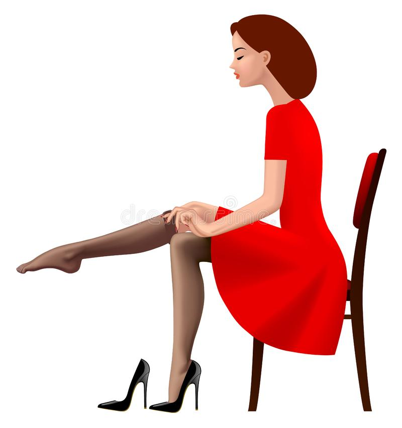 Woman in red retro dress putting on an stocking. Fashion concept. There is in addition a vector format EPS 8 vector illustration