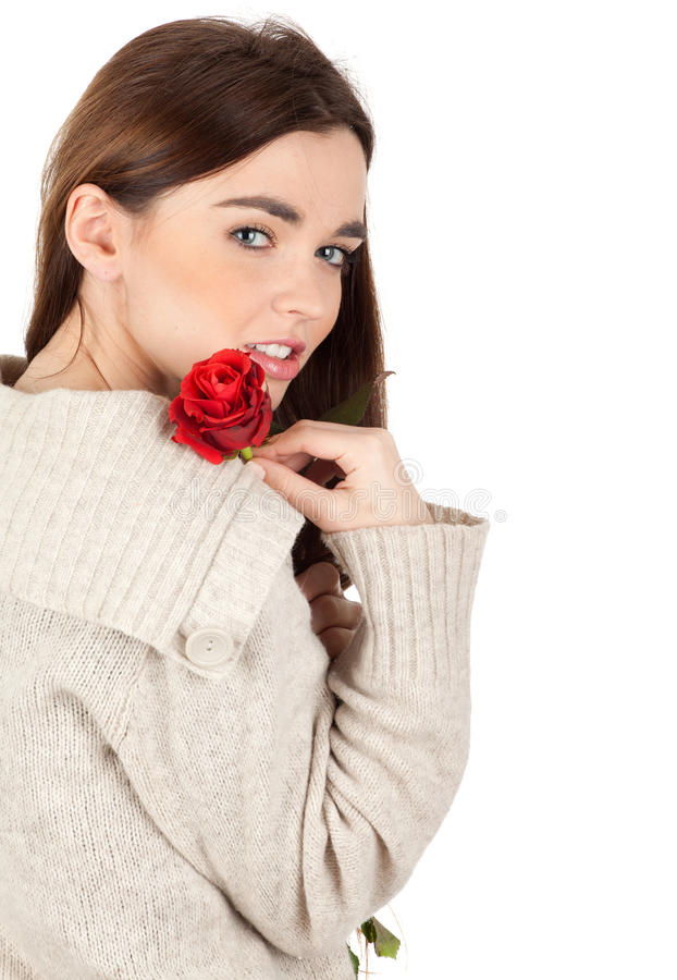 Download Woman with red rose stock photo. Image of happy, cute - 17891158