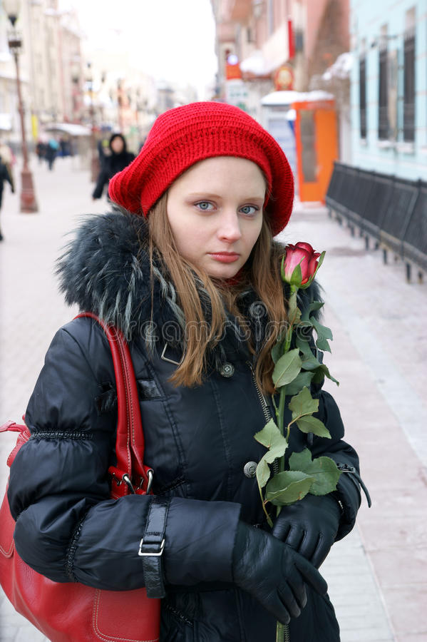 Download Woman with red rose stock photo. Image of city, lifestyle - 18571000