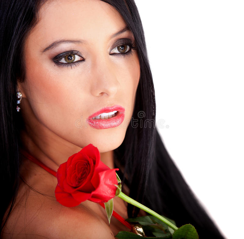 Download Woman with a red rose stock photo. Image of female, american - 23033880