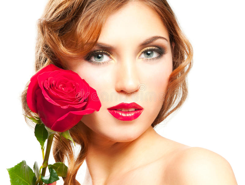 Woman with red rose. Beautiful woman with red lips and rose isolated on white stock photo